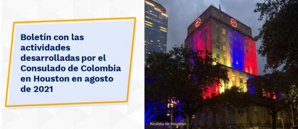 Boletín con las actividades desarrolladas por el Consulado de Colombia en Houston en agosto