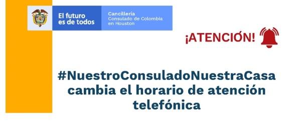 Cambia el horario de atención telefónica en el Consulado de Colombia
