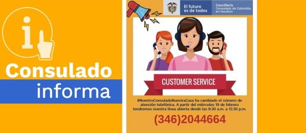 El Consulado de Colombia en Houston informa que su nuevo número de atención telefónica es 346 204 4664