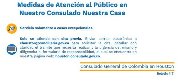Consulado de Colombia en Houston publica en su Boletín No. 7 las medidas de atención al público en nuestro consulado