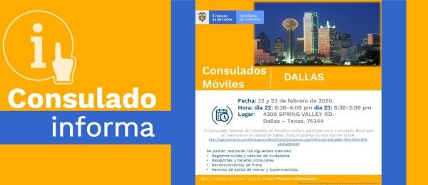 Consulado de Colombia en Houston invita al Consulado Móvil que se realizará en Dallas, los días 22 y 23 de febrero de 2020