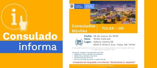 Consulado de Colombia en Houston invita al Consulado Móvil que se realizará en Tulsa, el 8 de marzo de 2020