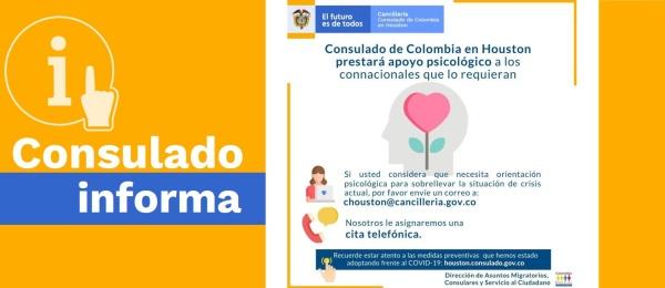 Consulado de Colombia en Houston prestará apoyo psicológico a los connacionales afectados por la crisis del COVID-19