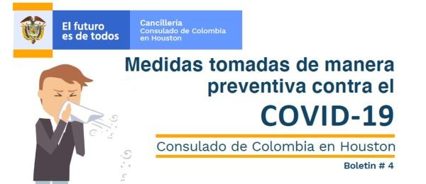 Consulado de Colombia en Houston informa las medidas preventivas adoptadas contra el COVID-19