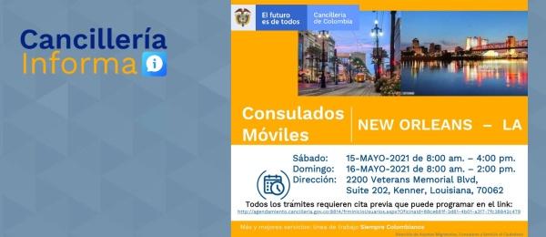 Consulado de Colombia en Houston realizará un Consulado Móvil en New Orleans - Luisiana, del 14 al 16 de abril de 2021