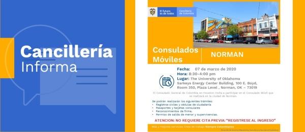 Consulado de Colombia en Houston invita al Consulado Móvil que se realizará en Norman, el 7 de marzo de 2020