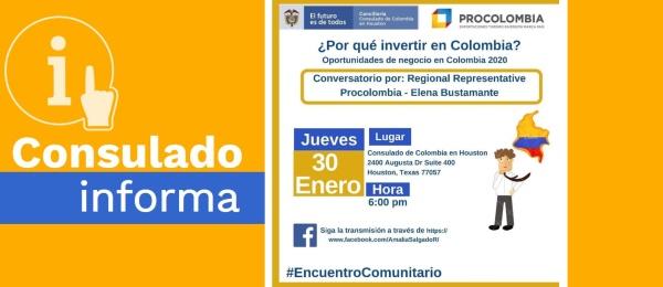 Consulado de Colombia en Houston invita a la charla ¿Por qué invertir en Colombia? El jueves 30 de enero de 2020