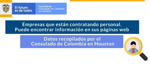 Datos recopilados por el Consulado de Colombia en Houston sobre empresas que están contratando personal