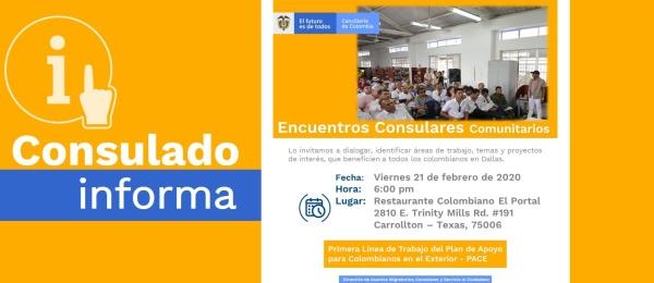 El Consulado de Colombia en Houston realizará un Encuentro Consular Comunitario el 21 de febrero de 2020