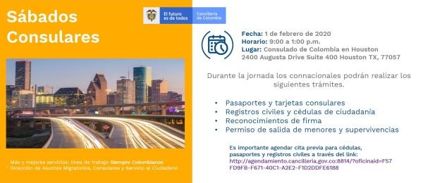 Consulado de Colombia en Houston invita a la jornada de Sábado Consular que se realizará el 1 de febrero de 2020