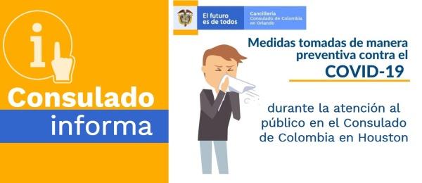 Medidas preventivas contra la propagación del COVID-19 en el Consulado de Colombia en Houston