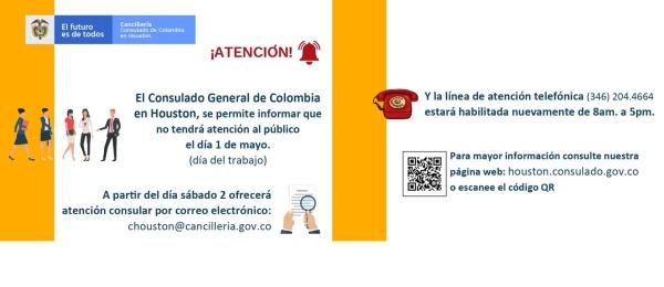 El Consulado de Colombia en Houston no tendrá atención al público 1 de mayo de 2020