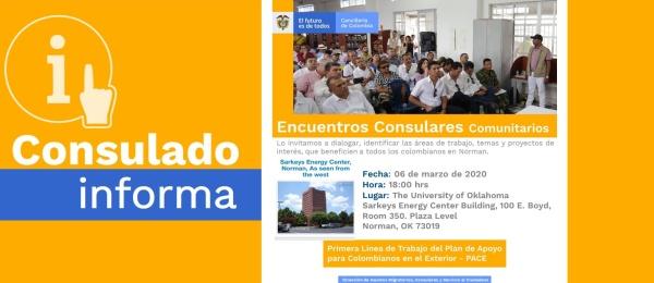 El Consulado de Colombia en Houston realizará un Encuentro Consular Comunitario en Norman el 6 de marzo de 2020