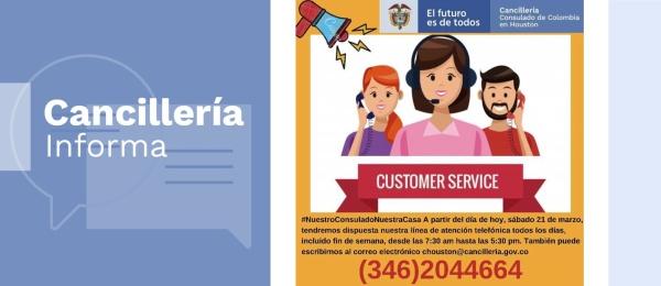 El Consulado de Colombia en Houston informa su nuevo número de atención telefónica
