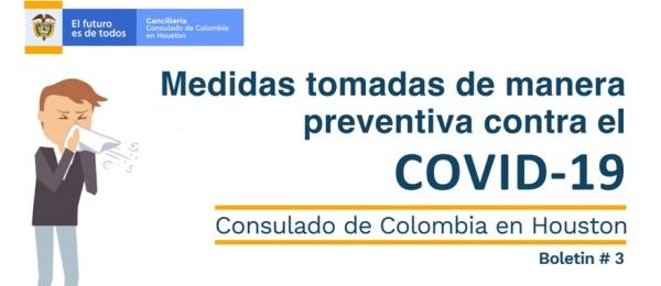 Medidas tomadas de manera preventiva contra el COVID-19 en el Consulado de Colombia