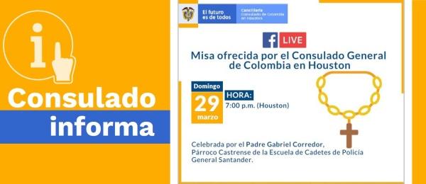 Misa ofrecida por el Consulado General de Colombia en Houston del domingo 29 de marzo de 2020