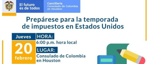 """Participe de la charla """"Prepárese para la temporada de impuestos en Estados Unidos"""" en el Consulado de Colombia"""