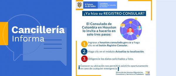 El Consulado de Colombia en Houston lo invita a hacer su registro consular